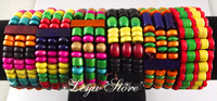 Leya Wholesale 24 pcs Color mix Colorful elastic wood beads bracelets Fashion Jewelry Free Shipping