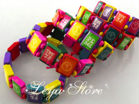 Leya Wholesale 24 pcs Multi-Color Peace wood beads Mix elastic bracelets Fashion Jewelry Free Shipping