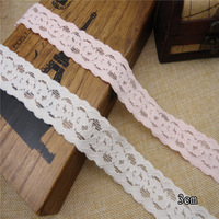 Wholesale Lot :   Pink  off white  Floral elastic stretch Lace Trim hair accesory Crafts/ DIY Sewing   3cm