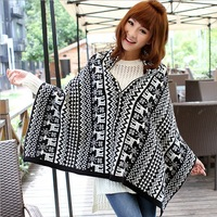 Black and white deer pattern fashion winter women warm scarves Shawl With Button Wool Wraps scarf for women