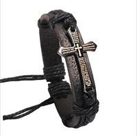 New 2014 High Quality 3pcs Vintage men jewelry Scripture cross metallic Black & brown Leather Braid Bracelets & Bangles W1027