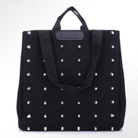 New fashion Black Rivet Canvas Women TOLES handbag  Casual Toles Day bag(131009)