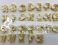 1300pcs 8mm A-Z golden color KT  rhinestone slide DIY letters