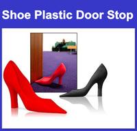 Ratail High Heel Shoe Plastic Door Stop Wedge Stopper Foot in the Door Doorstop Black  and Red Free shipping
