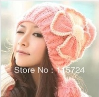 Free shipping Bow Wool Hat Winter Ear knitting women warm winter cap