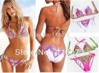 New biquini for women bikini brazilian, sexy porcelain retro print biquini franja triangl swimwear 2014 free shipping