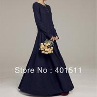 D167  Free shipping 2013 new Women's high quality  linen maxi dress long sleeve