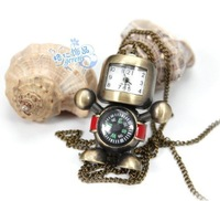 New  retro compass robot cute pocket watch pendant necklace