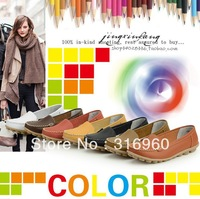 Promotions!! Women's Mother's Leather Shoes Slip-on Ballet Flats Comfort Anti-skid Shoes 8 Colors Free Shipping