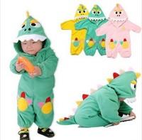 Fleece Triceratops Infant Dragon / Dinosaur Romper Baby Boys Girls Onesie Suit Animal Cosplay Costume Child autumn Clothing