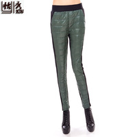 winter brief comfortable elastic waist mohair color block down pants women