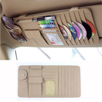 Beige New Car Interior Sun Visor Multifunction Leather DVD Case CD Folder Pocket