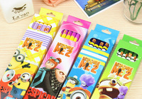48 pcs/4 sets Mini Despicable me /Precious Milk Dad 2   wooden pencil minions pens  free shipping fashion gifts
