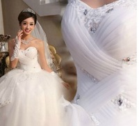 2013 free shipping Suzhou Huqiu outlet selling new fashion lacing up big bow paillette wedding dress