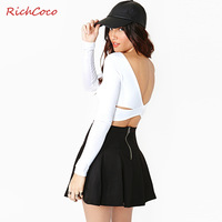 XS To  XXL White Sexy Back Cross Long-sleeve Short Design Crop Tops T-shirts For Women Plus Size Tees 2014 Summer New Fashion
