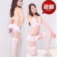Temptation women's bra thong lace transparent net stockings set spaghetti strap socks