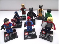8pc Super Heroes The Avengers Iron Man,Hulk,Batman,Wolverine,Thor,Superman,Captain America,Spider-Man Building Blocks Toys