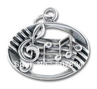 free shipping 12pcs a lot fashion cheap antique silver music note charms