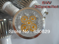 Wholesale 30pcs/lot 5W GU10 LED spot light AC85-265V 600LM 5W led lamp,spotlight DHL free