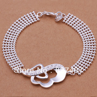 Free Shipping  925 Silver Bracelet For Women  Pave fine light bead gem-set ear-shape Bracelet 8 inchs