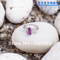 Leaf ring Thailand handmade 14K gold rose gold rhodium plated crystal amethyst ring design elegant ring high quality ring