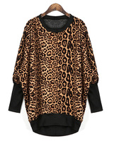 Autumn and winter fashion vintage loose pullover fleece thickening leopard print dovetail long sweatshirt  outerwear top