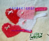 60pcs/lot,baby Elastic Headbands,soft stetch headband with Rosette Fabric Heart Shaped Headband,Chiffon Heart Headband with bow