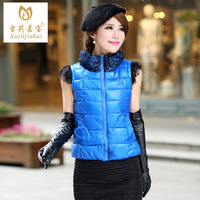 Oloroso gerber women's vest fashion autumn and winter stand collar lace patchwork down cotton vest female