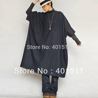 D176  Free shipping Dark Blue 2014 New Women's High quality Loose linen dress