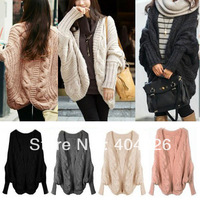 Womens Knitted Cardigan Batwing Outwear Lady Casual Loose Sweater Coat Tops Free shipping