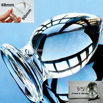 48mm Large Big ball transparent Crystal glass Anal butt plug Sex toys for Женщины ...