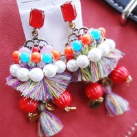 Free Shipping! Hot Sale Large Bohemian Colorful Tassel Drop Earrings Jewelry for Women Dress Accessories Christmas Gifts