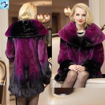 womens fur coats 2014 New OL style fur coat mink fur with hood long real mink fur coats women rose red cape collar 626