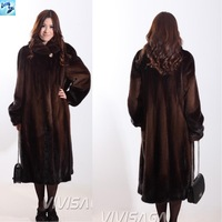 whole mink fur long winter coat women long outerwear 2013 new fashion female fur coat women Leather Clothing color Coffee 670