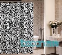 Zebra print waterproof eco-friendly terylene cloth shower curtain pure copper