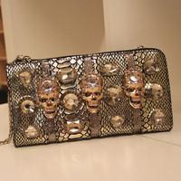 Clutch 2013 women's handbag serpentine pattern rhinestone skull genuine leather evening bag day clutch paillette