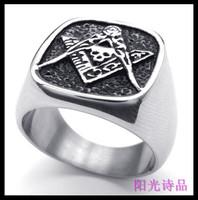 Signet Ring Embossed Stamped Black Enamel Freemason Masonic 316 Stainless Steel Ring Size:8-15
