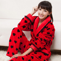 Winter sleepwear autumn and winter women's flannel sleep set thickening red sleepwear coral fleece lounge