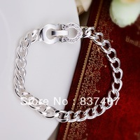 Free Shipping  925 Silver bracelets & bangles For Women  Sideways gem-set U-shape buckle bracelets & bangles 8 inchs