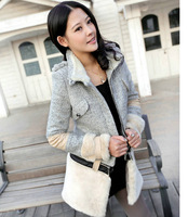 2013 new arrival women's winter fur jacket stitching patchwork woolen coat long woolen outerwear S-XL Free shipping