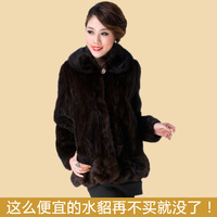 piece natural  mink fur Fur coat 2013 mink overcoat medium-long fight mink Women