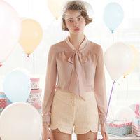 New 2014 Fashion Women Blouses Chiffon Shirts With Bow Collar Lace Embroidery Light Purple Free Shipping Z85036