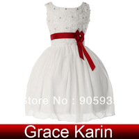 Free Shipping New Kids White Flower Girl Princess Bridesmaid Wedding Pageant Party Gown Dress 10 Size 2~12 Years CL4609