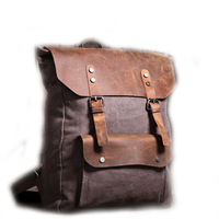 Women Vintage Retro Genuine Leather Patchwork Canvas Backpack Rucksack Weekend Bag Handbag GZBG-01549