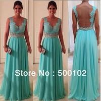 Hot Sale Mint Blue Sweetheart Beaded Sheer Back Long Chiffon Evening  Prom Dresses WD02