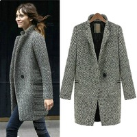 2013 autumn and winter new arrival fashion houndstooth tweed fabric suit trench woolen outerwear female 007