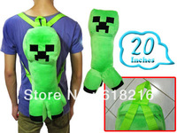 wholesale 10 pcs/ lot  New Hot sale Arrivel Cartoon minecraft creeper  Plush Backpack messenger Bags 20 inch B987