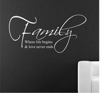 High quality! 60*30cm Family Where Life Begins Love never Ends English Quote/Vinyl Wall Decals Home Decor Removable Wall Sticker