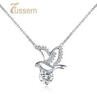 FUSSEM Design Flying Bird S925 Sterling Silver Pendant made with Hearts and Arrows Cut Swiss Diamond Necklace FREE SHIPPING