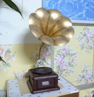 Vintage graphophone model photography props old fashioned gramophone antique horn vintage decoration  # free shipping